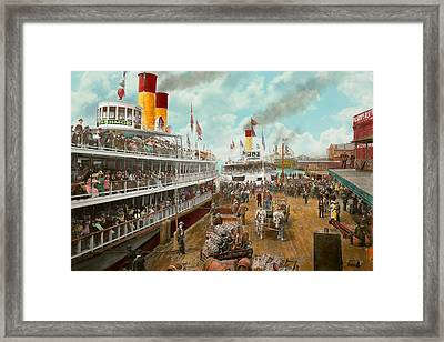 Boat - A Vacation To Remember - 1901 Framed Print by Mike Savad