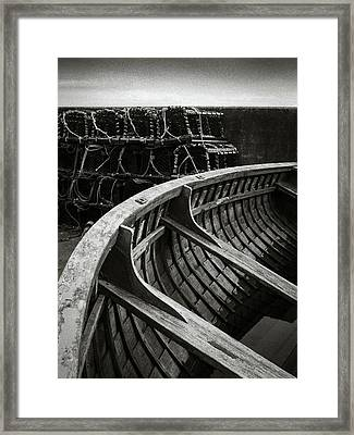 Boat And Creel Nets Framed Print by Dave Bowman