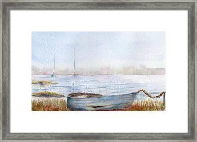 Boat By A Lake. Framed Print by Kim Hamilton