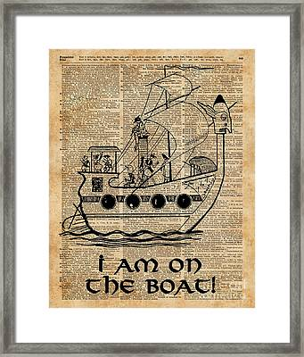 Boat Expedition,ship Excursion,music Crew,vintage Ink Dictionary Art Framed Print by Jacob Kuch