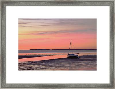Boat In Cape Cod Bay At Sunrise Framed Print by Gemma