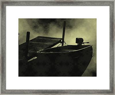 Boat In Fog Framed Print by Michael L Kimble