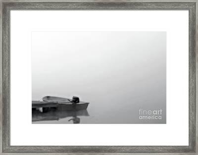 Boat In Fog On Lake Black And White Framed Print by Randy Steele