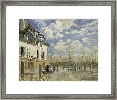 Boat In The Flood At Port Marly Framed Print by Alfred Sisley