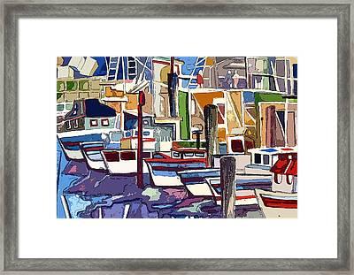 Boat Marina Framed Print by Mindy Newman