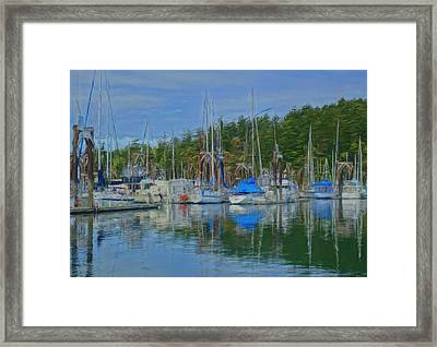 Boat Mast Reflections Olympic Coast Framed Print by Dan Sproul