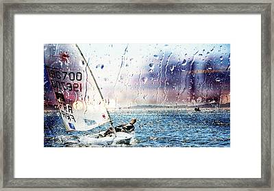 Boat On The Sea Framed Print by Jean Francois Gil