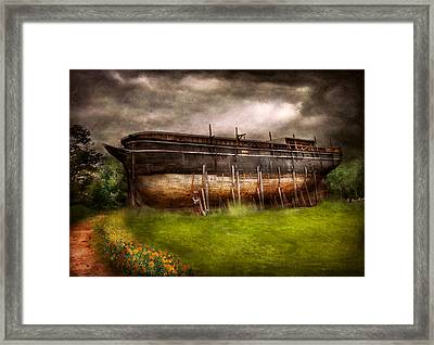 Boat - The Construction Of Noah's Ark Framed Print by Mike Savad