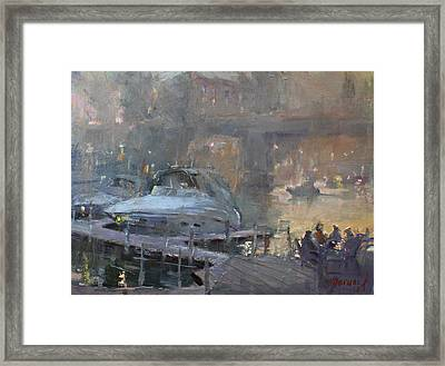 Boaters At Dusk Framed Print by Ylli Haruni