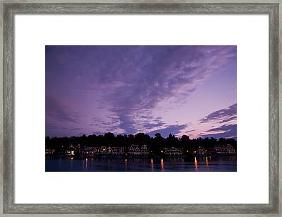 Boathouse Row In Twilight Framed Print by Bill Cannon