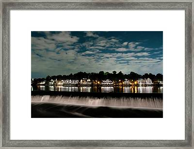 Boathouse Row - Nights Reflection Framed Print by Bill Cannon