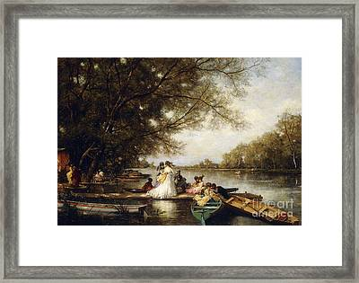 Boating Party On The Thames Framed Print by Ferdinand Heilbuth