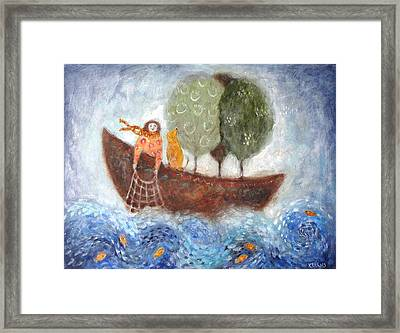 Boating With Trees Framed Print by Katie Lewis