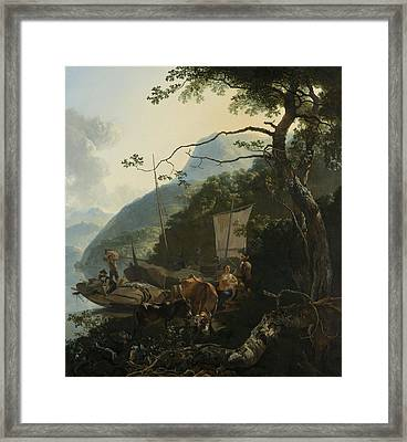 Boatmen Moored On The Shore Of An Italian Lake Framed Print by Adam Pynacker