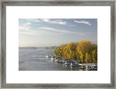 Boats Anchored At A Port, Mississippi Framed Print by Panoramic Images