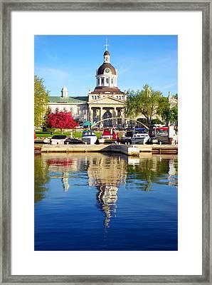 Boats And City Hall Reflections Framed Print by Paul Wash