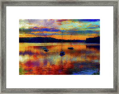 Boats At Sunset - Paint Edition Framed Print by Lilia D