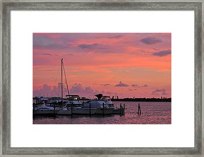 Boats At Sunset Framed Print by Rose  Hill