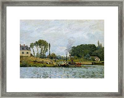 Boats At The Lock At Bougival Framed Print by Alfred Sisley