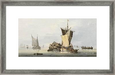 Boats In A Calm Framed Print by Samuel Owen
