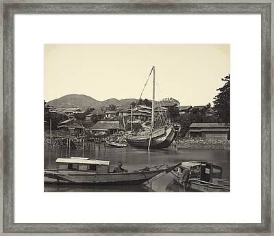Boats In River In Nagaski Framed Print by Celestial Images