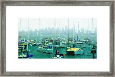 Boats In The Bay Framed Print by Russ Harris
