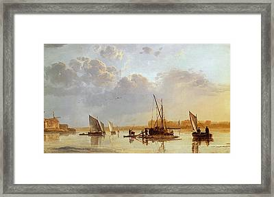 Boats On A River Framed Print by Aelbert Cuyp