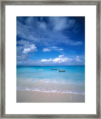 Boats Tropical Caribbean Sea Antilles Framed Print by Panoramic Images