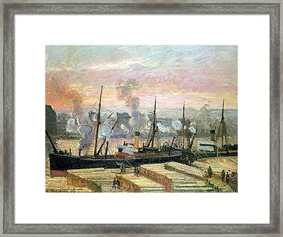 Boats Unloading Wood Framed Print by Camille Pissarro