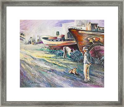 Boats Yard In Villajoyosa Spain Framed Print by Miki De Goodaboom