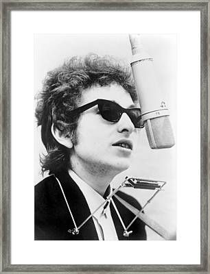 Bob Dylan B. 1941 With Harmonica Framed Print by Everett