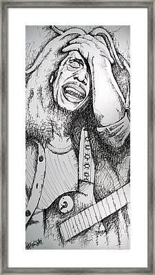 Bob Marley In Ink Framed Print by Joshua Morton