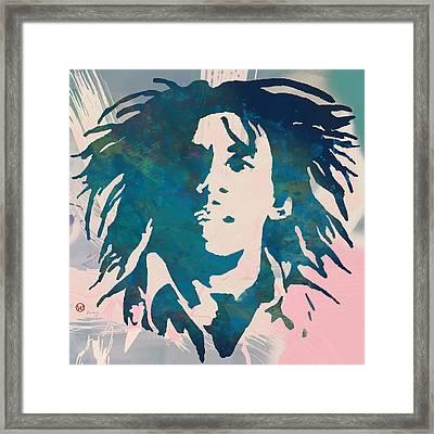 Bob Marley Stylised Pop Art Poser Framed Print by Kim Wang