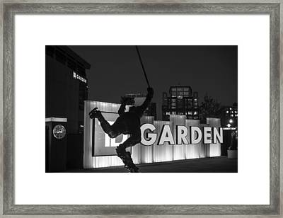 Bobby Orr Statue Td Garden Boston Ma Black And White Framed Print by Toby McGuire