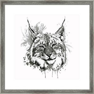 Bobcat Head Black And White Framed Print by Marian Voicu