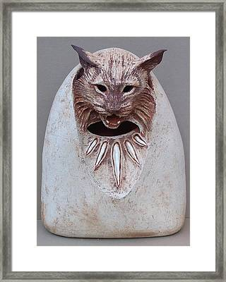 Bobcat Stone Framed Print by Gaylon Dingler