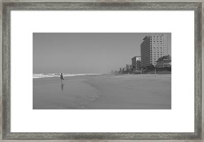 Body Boarding In Black And White Framed Print by Mandy Shupp