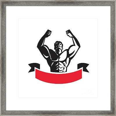 Body Builder Flexing Muscles Banner Retro Framed Print by Aloysius Patrimonio