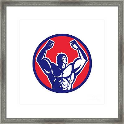 Body Builder Flexing Muscles Circle Retro Framed Print by Aloysius Patrimonio