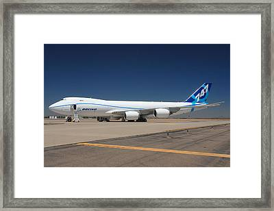 Boeing 747-8 N50217 At Phoenix-mesa Gateway Airport Framed Print by Brian Lockett