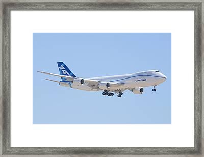Boeing 747-8 N50217 Landing Framed Print by Brian Lockett