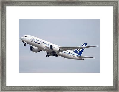 Boeing 787-8 N787za Mesa Gateway Airport November 11 2011 Framed Print by Brian Lockett