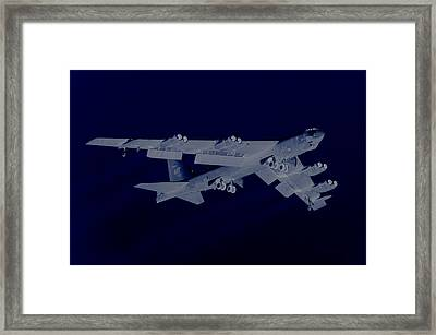 Boeing B-52 Stratofortress Off On A Dangerous Night Mission Framed Print by L Brown
