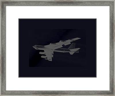 Boeing B-52 Stratofortress Taking Off On A Dangerous Night Mission Tinker Afb 3 Borders Framed Print by L Brown