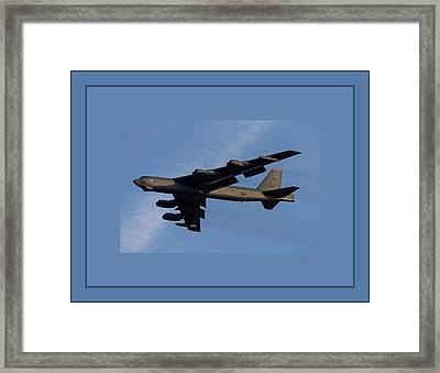 Boeing B-52 Stratofortress Taking Off From Tinker Air Force Base Oklahoma With Quadruple Border Framed Print by L Brown