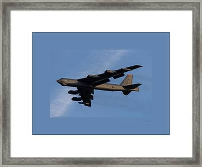 Boeing B-52 Stratofortress Taking Off From Tinker Air Force Base Oklahoma With Double Border Framed Print by L Brown