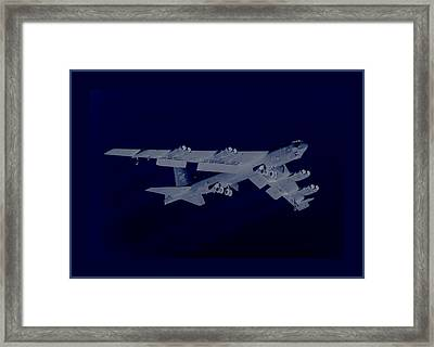 Boeing B-52 Stratofortress Taking Off On A Dangerous Night Mission With Double Border Framed Print by L Brown