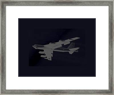 Boeing B-52 Stratofortress Taking Off On A Dangerous Night Mission Tinker Afb 3 Contrasting Borders Framed Print by L Brown