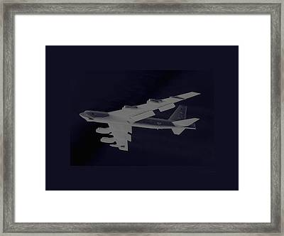 Boeing B-52 Stratofortress Taking Off On A Dangerous Night Mission Tinker Afb Oklahoma With Border Framed Print by L Brown