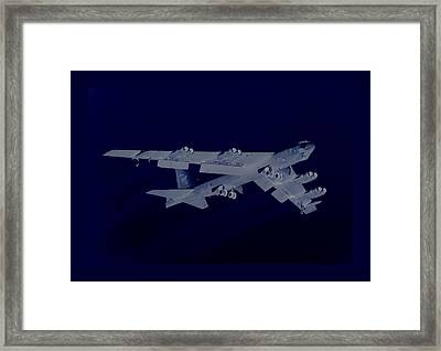 Boeing B-52 Stratofortress Taking Off On A Dangerous Night Mission With Matching Border Framed Print by L Brown